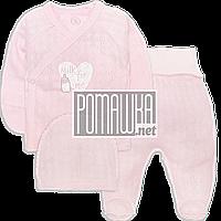 Костюмчик (комплект) на выписку р. 56 с дырочками для новорожденного летний ткань МУЛЬТИРИПП 4085 Розовый А