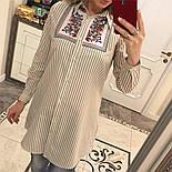 Женская стильная удлиненная рубашка в полоску с вышивкой (3 цвета), фото 8