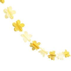 Гирлянда бумажная 3D Цветы (желто-белые)