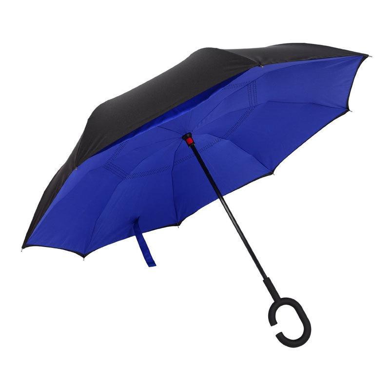 Зонт обратный UpBrella полуавтомат Черный с синим