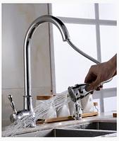 Смеситель для кухонной мойки с выдвижной лейкой 1-052, фото 1