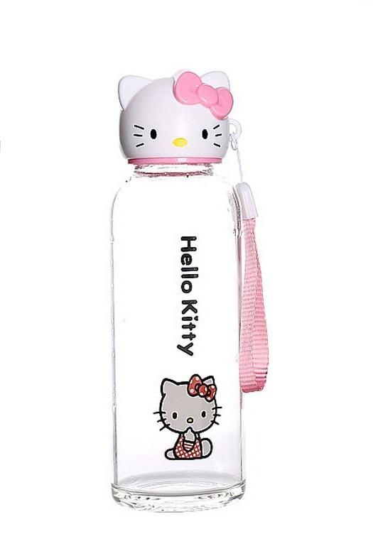 Бутылка для воды SUNROZ Hello Kitty портативная Бутылочка 500 мл Розовый (SUN1103)