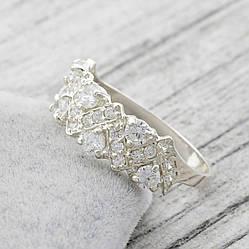 """Серебряное кольцо """"Венок"""", вставка белые фианиты, вес 2.37 г, размер 16"""