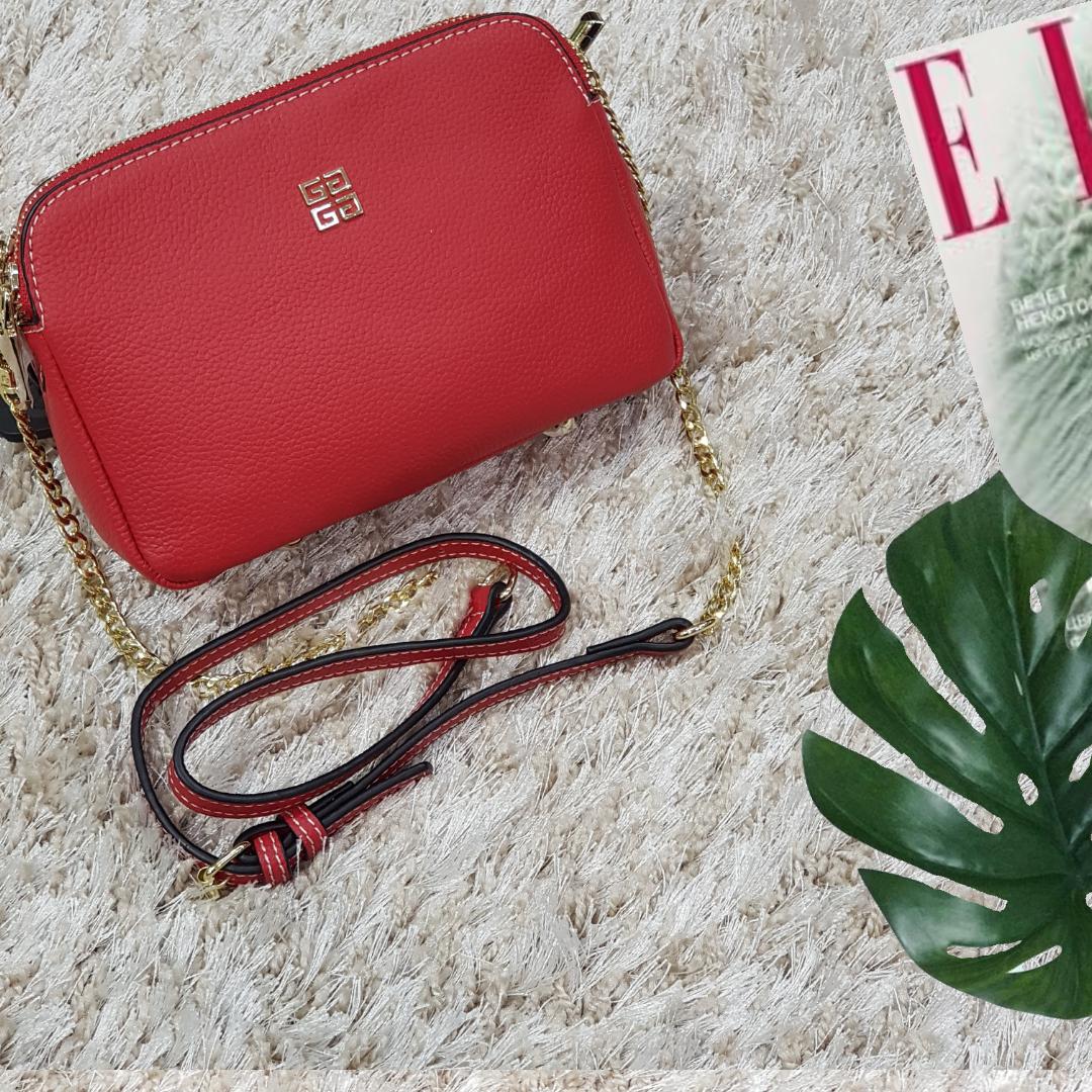 Женская маленькая сумка красная Givenchi из натуральной кожи