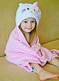 Детское пляжное пончо полотенце с капюшоном Китти, 76х102, микрофлис