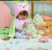 Детское пляжное пончо полотенце с капюшоном Совушка, 76х102, микрофлис
