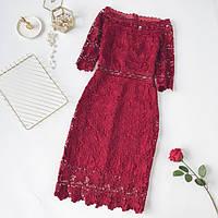 Красивое женское платье из набивного кружева красное, фото 1