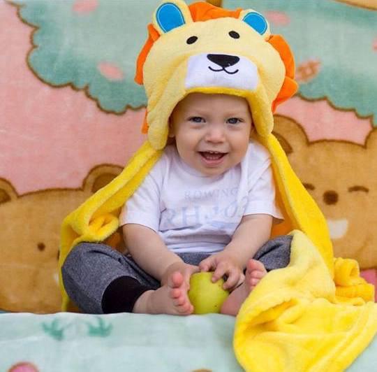Детское пляжное пончо полотенце с капюшоном Лев Алекс, 76х102, микрофлис