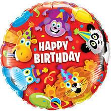 Фольгований куля Happy birthday animals