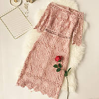 Красивое женское платье из набивного кружева розовое (пудра), фото 1