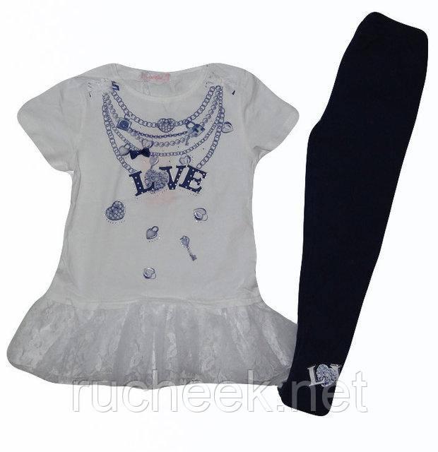 Летний костюм для девочек нрядная футболка и лосины, р 110-128 Венгрия  Emma girl 7799