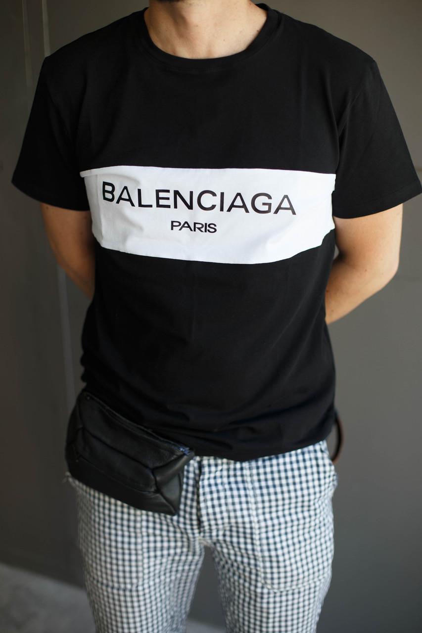 Мужская футболка Balenciaga Paris.Черно-белая