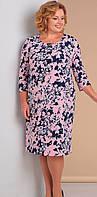 Платье Novella Sharm-3030 белорусский трикотаж, сине-розовые тона, 58