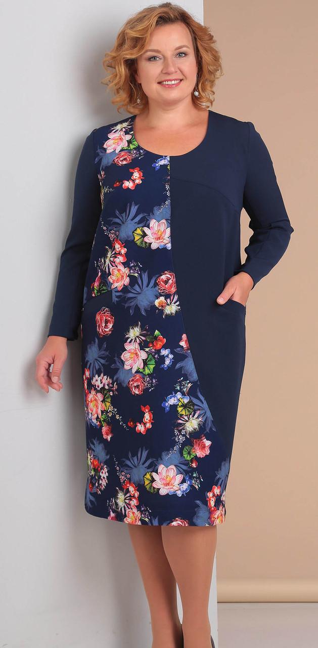 Платье Novella Sharm-3037 белорусский трикотаж, синие тона, 58