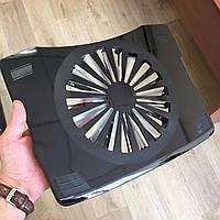 Подставка для ноутбука USB с вентилятором охлаждением на стол черная IS 630