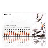 Набор простых карандашей Marco 7000M-12TN 12 шт 2H-8B в металлическом пенале