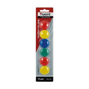 Набір магнітів у кольоровому пластиковому корпусі, круглі, 6 штук, Axent 9821-A