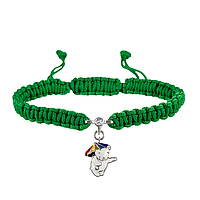 Браслет с cеребряным украшением Uma&Umi Мишка с зонтиком Зеленый (301100972)