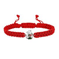 Браслет с серебряным украшением Uma&Umi Мишка с букетом Красный (301100967)