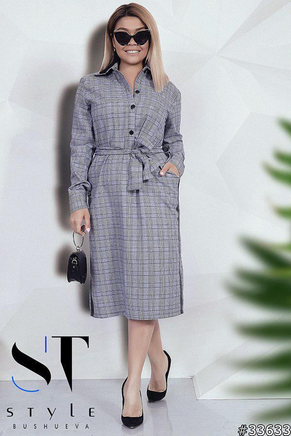Ультрамодное клетчатое платье-рубашка  Размер: 50-52,54-56