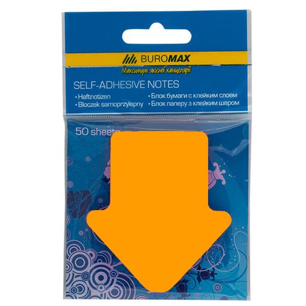Блок бумаги для записей стрелка, 50 листов, оранжевый неон, Buromax BM.2366-99