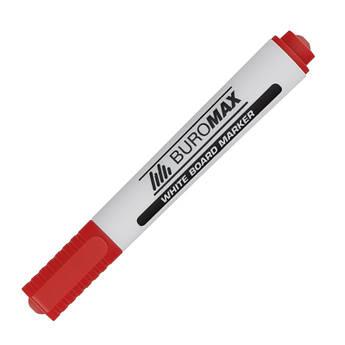 Маркер для магнітних сухостираємих дошок, червоний, круглий пишучий вузол, Buromax BM.8800-05