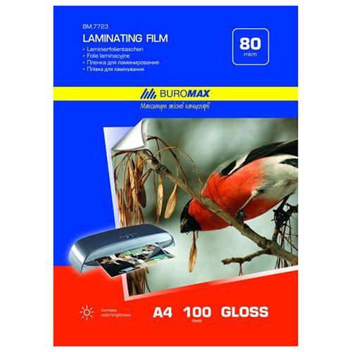Пленка для ламинирования, 80 мкм, A4 (216x303 мм), глянцевая, 100  штук в упаковке, Buromax BM.7723