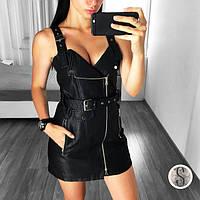 Женский модный сарафан из кожзама черный, фото 1