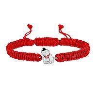 Браслет с cеребряным украшением Uma&Umi Мишка в котелке Красный (301100969)