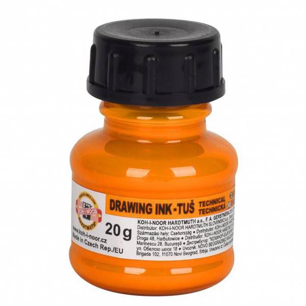 Тушь художественная 20 мл, оранжевая флуоресцентная, Koh-i-noor, 0141790101LP
