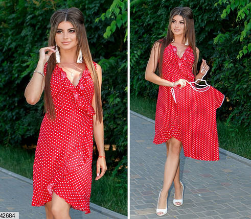 Летнее платье на запах мини полуприталенное красное, фото 2