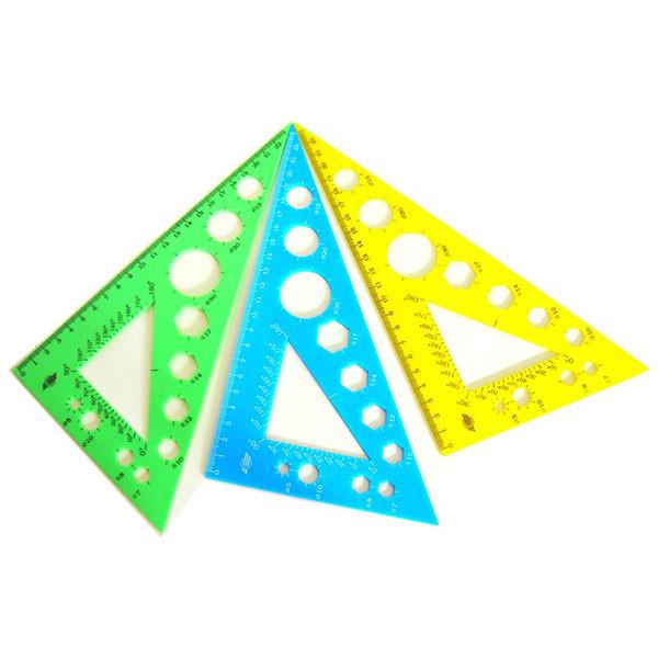 Трикутник пластиковий  90/60/30, 23 сантиметри, кольоровий, Спектр-канцпласт, У-230Ц