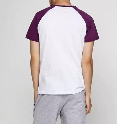 Футболка мужская реглан, бело фиолетовый, фото 2