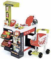 Интерактивный супермаркет Smoby Red со звуковыми эффектами, тележкой и аксессуарами красный