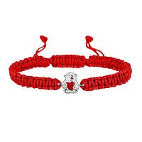 Браслет с серебряным украшением Uma&Umi Мишка с сердечком Красный (301100973)