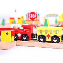 Деревянная железная дорога EcoToys HJD93950A 100 елементов, фото 2