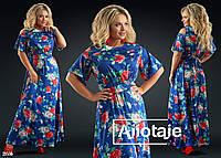 bff66c9f65a28c6 Модное летнее длинное платье с цветочным принтом большого размера 48, 60,  52, 54