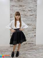 Школьная юбка-колокол из неопрена Love me, цвет черный