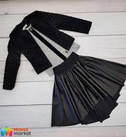 Школьная юбка-колокол из эко-кожи Love me, цвет черный