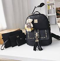 Стильний жіночий набір 4в1 з заклепками і пензликами, рюкзак, клатч, космо, візитниця, фото 3