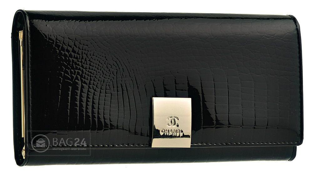 Женский кошелек лаковый CHANEL 13622, Черный