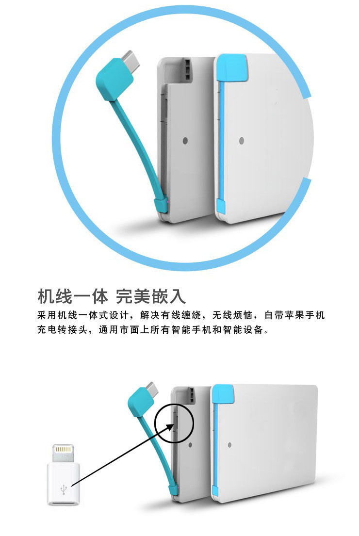 Мини портативное зарядное устройство Power Bank 2500 мАч