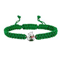 Браслет с серебряным украшением Uma&Umi Мишка с букетом Зеленый (301100968)