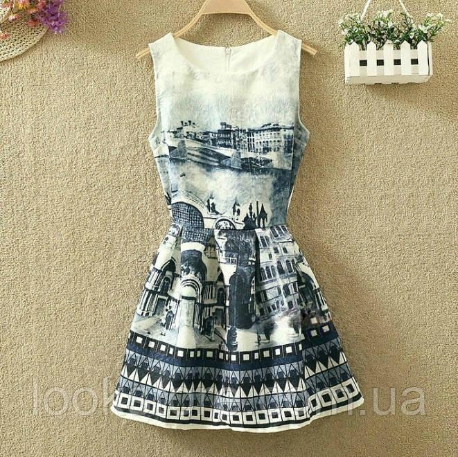 Платье женское жаккардовое с городским пейзажем L, XL