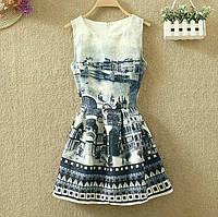 Платье женское жаккардовое с городским пейзажем L, XL, фото 1
