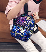 Модный городской рюкзак с пайетками перевертыш Хамелеон, фото 3