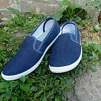 Слипоны мокасины кеды джинсовые мужские 41-45 размеры, фото 1