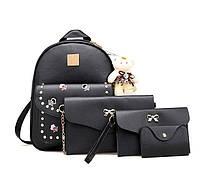Модный повседневный набор рюкзак 4в1 с вышитыми цветами и брелком для нежный девушек , фото 3