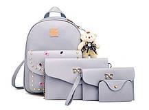 Модный повседневный набор рюкзак 4в1 с вышитыми цветами и брелком для нежный девушек , фото 2
