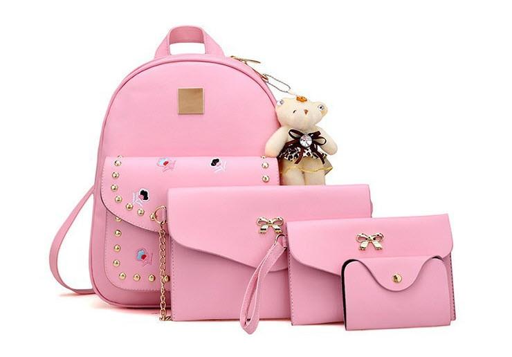Модный повседневный набор рюкзак 4в1 с вышитыми цветами и брелком для нежный девушек